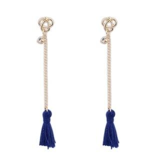 Tassel 18k Yellow Gold Overlay Tassel Drop Earrings - Blue