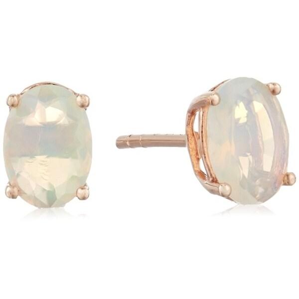 Pinctore 10k Rose Gold Ethiopian Opal Oval Stud Earrings Cream