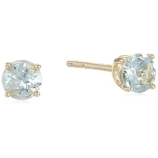 10k Yellow Gold Aquamarine Stud Earrings - Blue