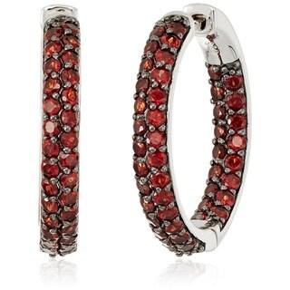 """Sterling Silver Red Garnet Round Hoop Earrings, 1"""""""