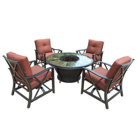 """Round Tempered Glass 48x24"""" Gas Firepit Table with Burner System, Beads, Cover and Four Red Cushioned Aluminum Rocking Chairs"""