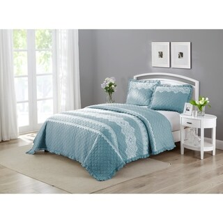 Wonder Home Duran 3-piece Cotton Lace Embroidered Quilt Set