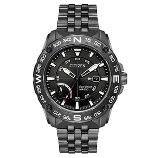 Citizen Eco-Drive Black Stainless Steel Chronograph male Watch AW7047-54H