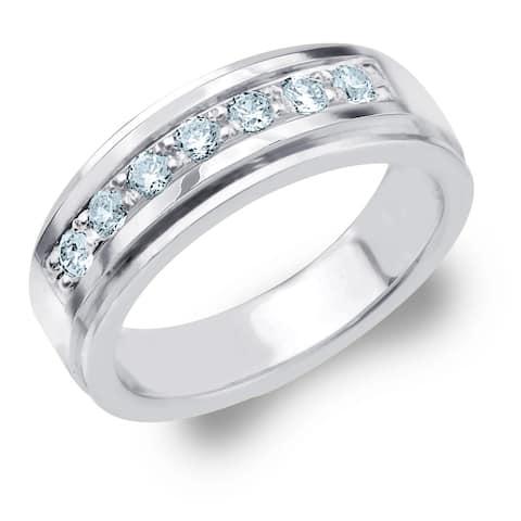 Amore 7 Stone 0.50 CT Diamond Men's Ring in 10K White Gold