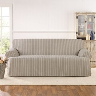 Sure Fit Grain Sack Stripe Once Piece Sofa Slipcover
