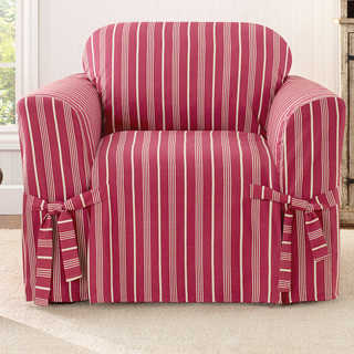 Sure Fit Grain Sack Stripe One Piece Chair Slipcover