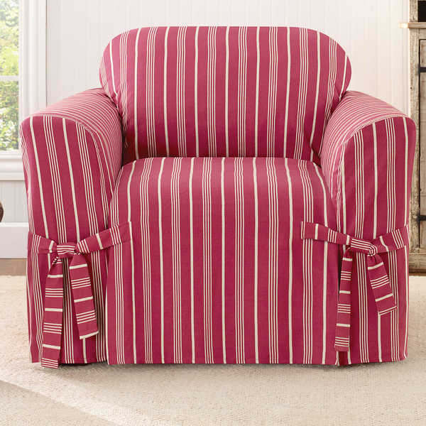 Shop Sure Fit Grain Sack Stripe One Piece Chair Slipcover