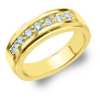 Amore 7 Stone 0.50 CT Diamond Men's Ring in 10K Yellow Gold