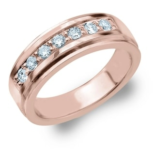 Amore 7 Stone 0 50 CT Diamond Men S Ring In 10K Rose Gold