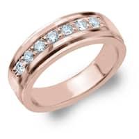 Amore 7 Stone 0.50 CT Diamond Men's Ring in 10K Rose Gold