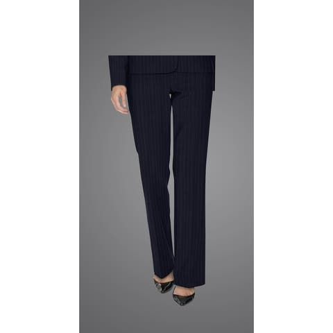 Twin Hill Womens Pant Navy Pinstripe Performance Flat Front