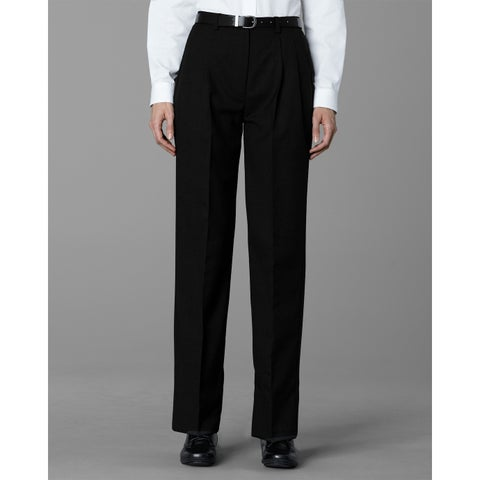 Twin Hill Womens Pant Black Poly/Wool Pleated Front