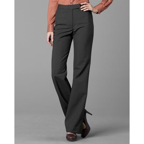Twin Hill Womens Pant Charcoal Poly/Wool Flat Front