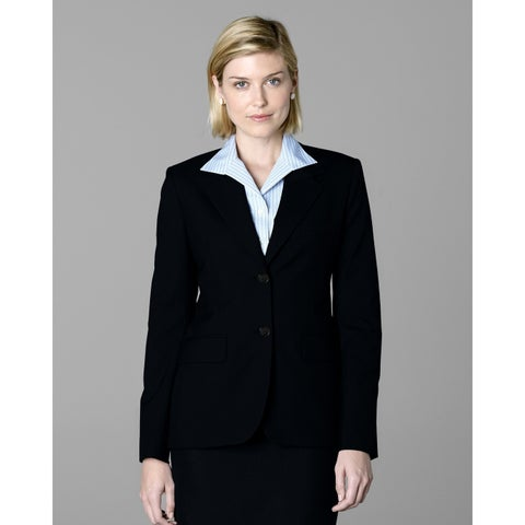 Twin Hill Womens Jacket Black Poly/Wool 2-button,