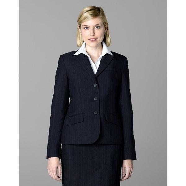 Twin Hill Womens Jacket Navy Pinstripe Performance 3-button