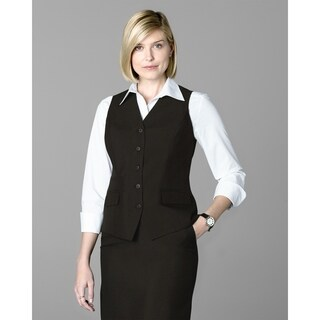 Twin Hill Womens Vest Chocolate Poly 5-button, v