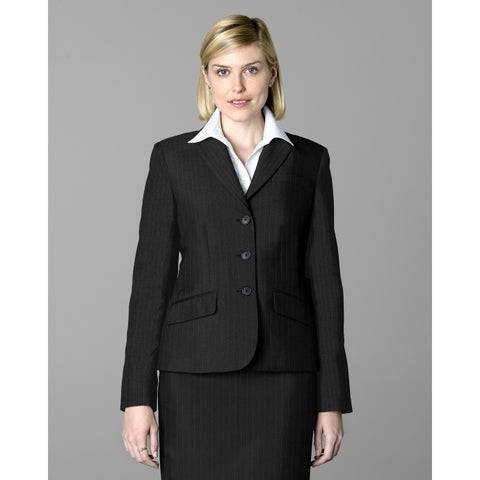 Twin Hill Womens Jacket Grey Pinstripe Performance 3-button