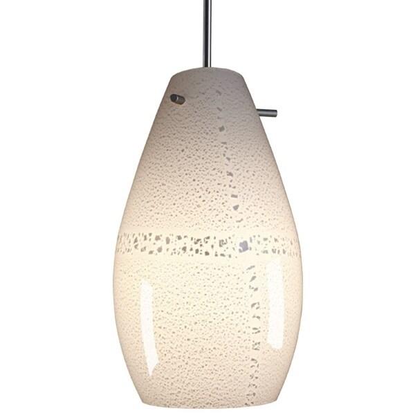 Bruck Lighting Soho CFL Matte Chrome Pendant with White Artisan Glass Shade