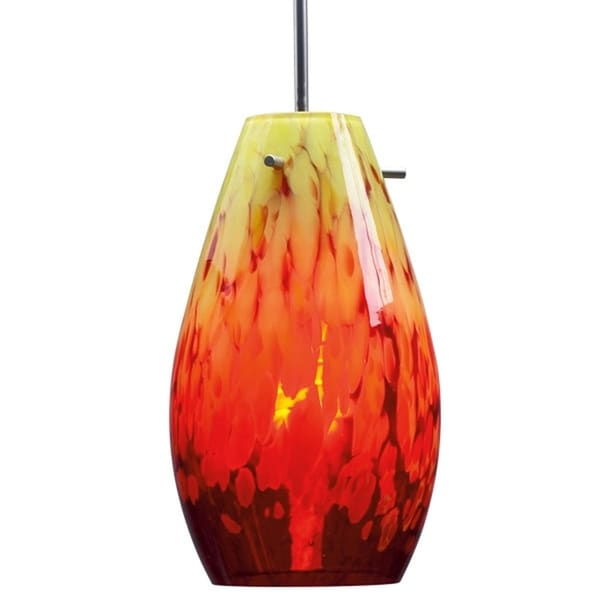 Bruck Lighting Soho Matte Chrome Pendant with Yellow and Red Artisan Glass Shade