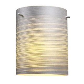 Bruck Lighting Regal CFL Matte Chrome Ceiling Mount with Silver Textured Glass Shade