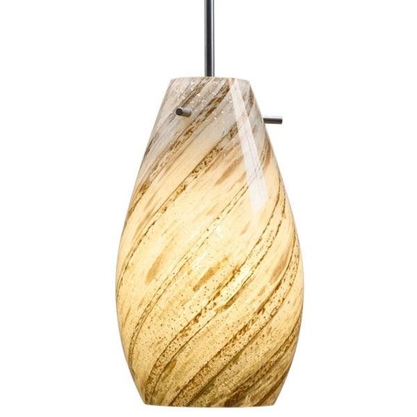Bruck Lighting Soho CFL Matte Chrome Pendant with Sea Shell Artisan Glass Shade
