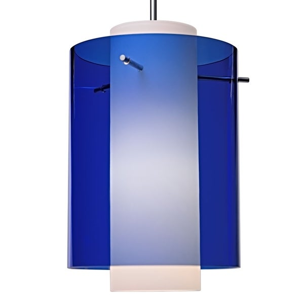Bruck Lighting Rome LED Matte Chrome Pendant with Blue Outer and Matte White Inner Artisan Glass Shade