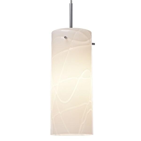 Bruck Lighting Luca Matte Chrome Pendant with White Glass Shade