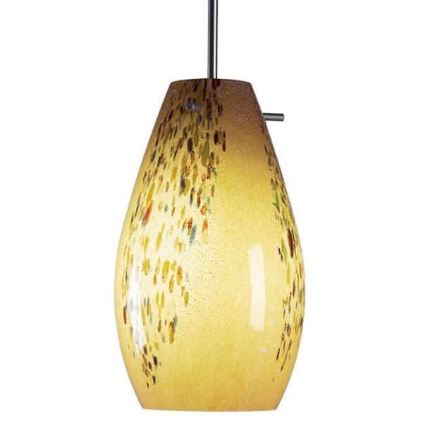 Bruck Lighting Soho Matte Chrome Pendant With Vanilla Artisan Glass Shade