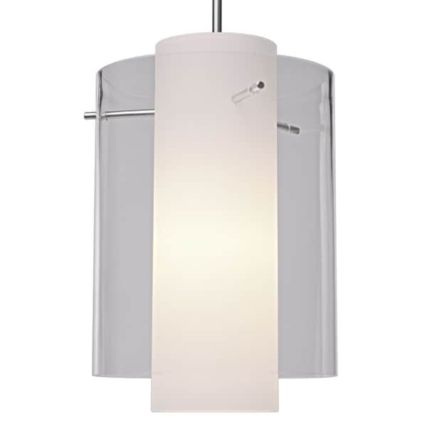 Bruck Lighting Rome CFL Matte Chrome Pendant with Clear Outer and Matte White Inner Artisan Glass Shade