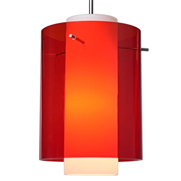 Bruck Lighting Rome CFL Matte Chrome Pendant with Red Outer and Matte White Inner Artisan Glass Shade