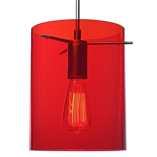 Bruck Lighting London Matte Chrome Pendant with Red Translucent Glass Shade