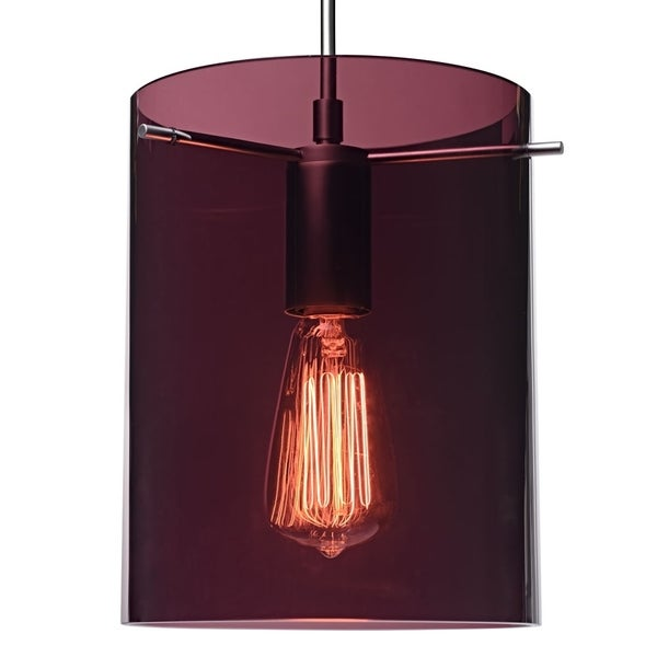 Bruck Lighting London Matte Chrome/Amethyst Translucent Glass Shade Pendant