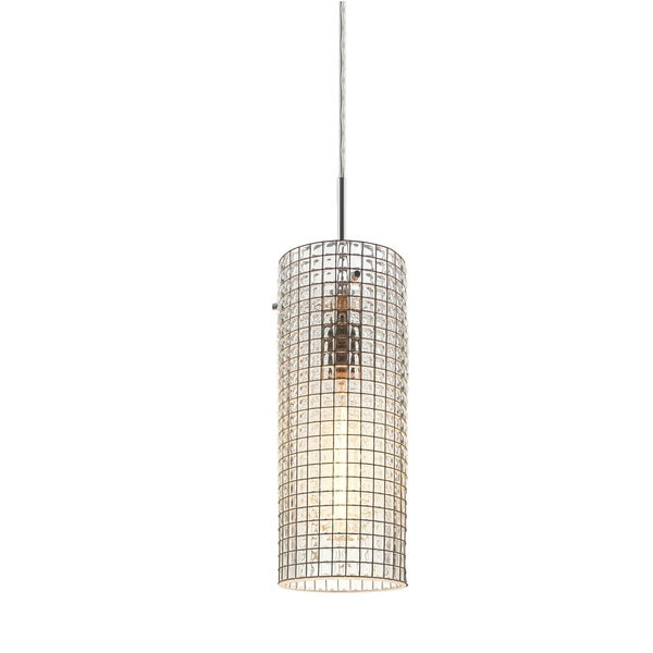 Bruck Lighting Serria 2 Matte Chrome Pendant with Clear Artisan Glass and Wire Shade