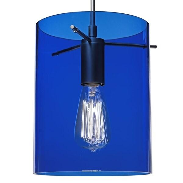 Bruck Lighting London Matte Chrome Pendant with Blue Translucent Glass Shade