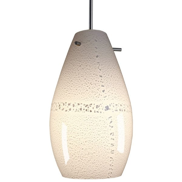Bruck Lighting Soho Matte Chrome Pendant with White Artisan Glass Shade