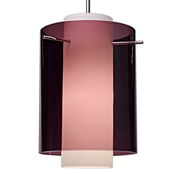 Bruck Lighting Rome LED Matte Chrome Pendant with Amethyst Outer and Matte White Inner Artisan Glass Shade