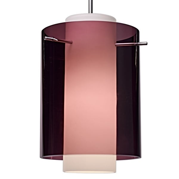 Bruck Lighting Rome Matte Chrome Pendant with Amethyst Outer and Matte White Inner Artisan Glass Shade