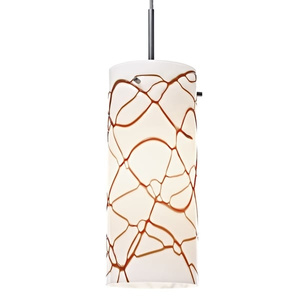 Bruck Lighting Luca Matte Chrome-finished Metal Pendant with Latte Glass Shade
