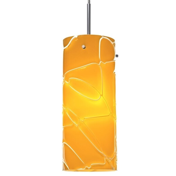 Bruck Lighting Luca CFL Matte Chrome Pendant with Cappuccino Glass Shade