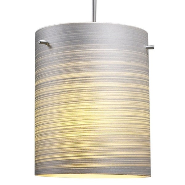 Bruck Lighting Regal CFL Matte Chrome Pendant with Silver Textured Glass Shade