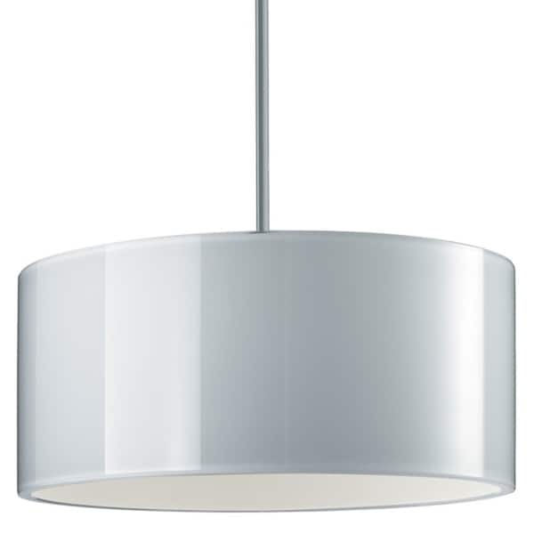 Bruck Lighting Cantara Low Voltage Halogen Matte Chrome Pendant with White Artisan Glass and Crystal Shade