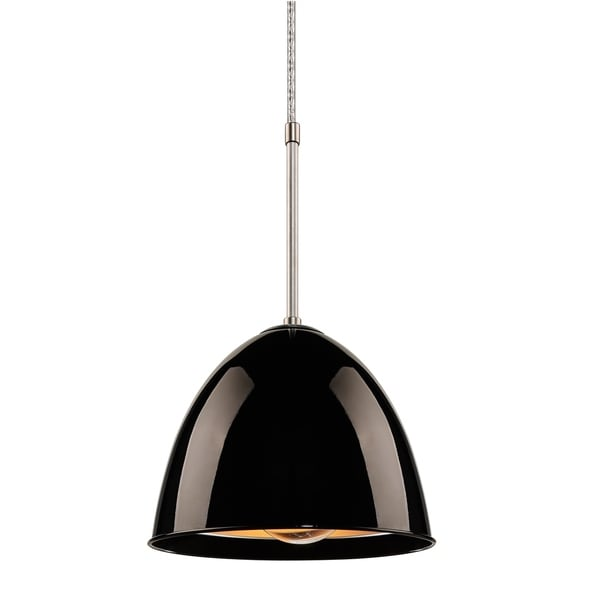 Bruck Lighting Classic CFL Matte Chrome Pendant with Black Aluminum Shade