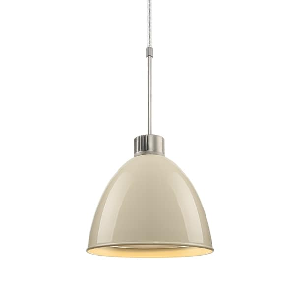 Bruck Lighting Classic LED Matte Chrome Pendant with Ivory Aluminum Shade