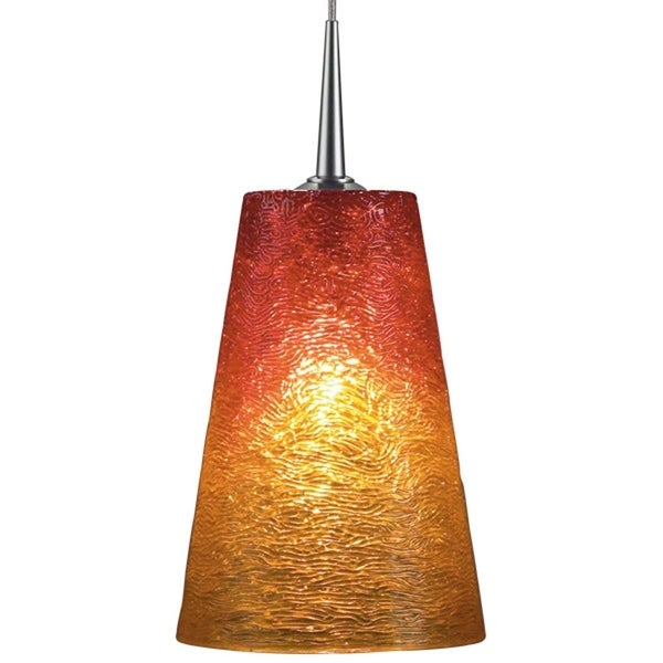 Bruck Lighting Bling 2 Halogen Matte Chrome Pendant with Sunrise Textured Hand Blown Glass Shade