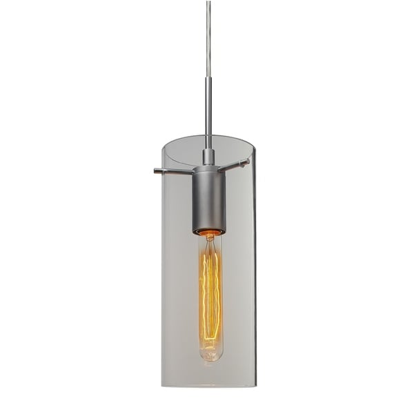 Bruck Lighting Luca Matte Chrome Pendant with Clear Glass Shade