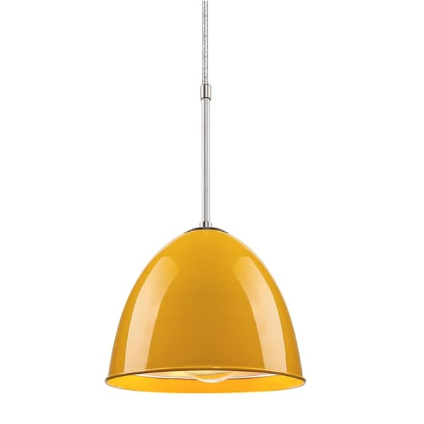 Bruck Lighting Classic CFL Matte Chrome Pendant with Canary Yellow Aluminum Shade