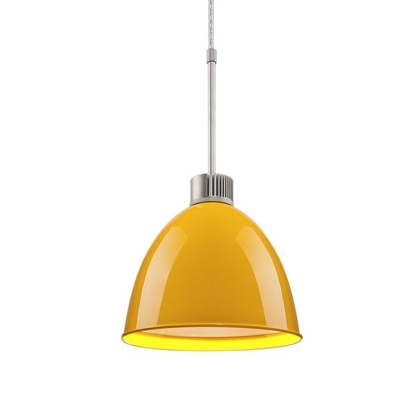 Bruck Lighting Classic LED Matte Chrome Pendant with Canary Yellow Aluminum Shade