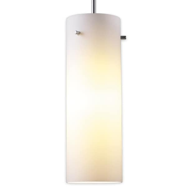 Bruck Lighting Titan 1 Low Voltage Halogen Matte Chrome Pendant with White Artisan Glass Shade