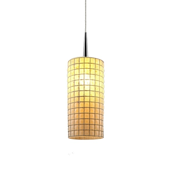 Bruck Lighting Sierra Chrome Pendant with Amber Artisan Glass/ Wire Shade