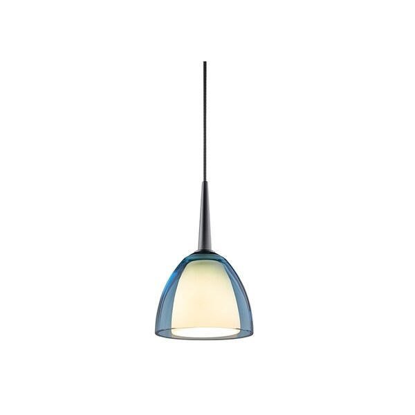 Bruck Lighting Rainbow 1 Low Voltage Halogen Matte Chrome Pendant with Turquoise Artisan Glass Shade